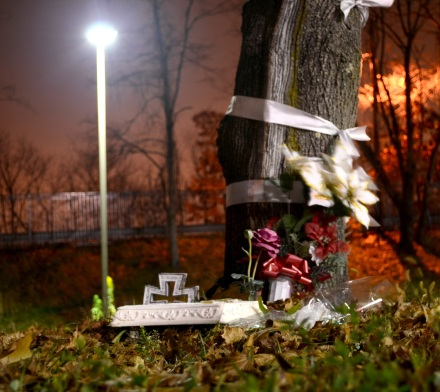 GLASSBORO - A makeshift memorial and flowers mark the area near where Donnie Farrell was attacked on October 27, 2007. (Damian Biniek/For The Donnie Project)